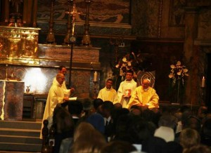 Un momento della Celebrazione con i Gesuiti