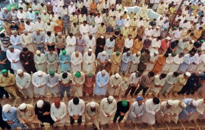 Pakistani Muslims offer Friday prayers at mosque during the month of Ramadan in Lahore on July 19, 2013. Islam's holy month of Ramadan is calculated on the sighting of the new moon and Muslims all over the world are supposed to fast from dawn to dusk during the month.  AFP PHOTO/ ARIF ALI        (Photo credit should read Arif Ali/AFP/Getty Images)