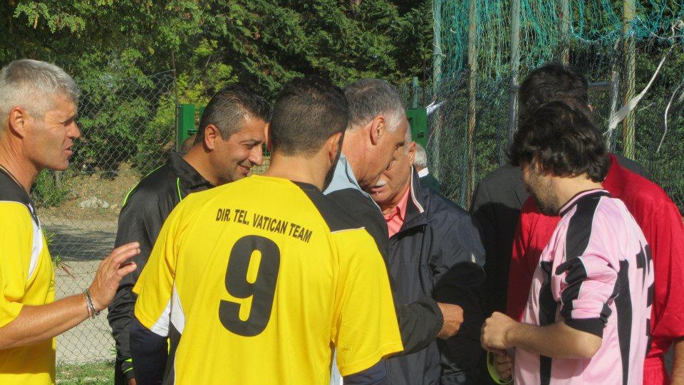 Un momento del torneo di calcio vinto dalla Nazionale Vaticana