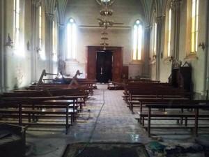 Foto dell'incendio della Chiesa di St. Teresa Ad Assiut Egitto