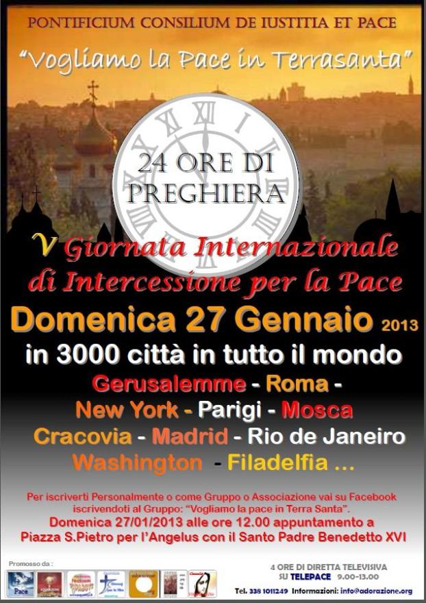 La Preghiera per la Pace in Terra Santa sale incessantemente da Roma a 3.000 città di tutto il pianeta