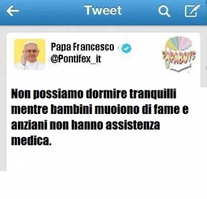 Il tweet di Papa Francesco di questo sabato