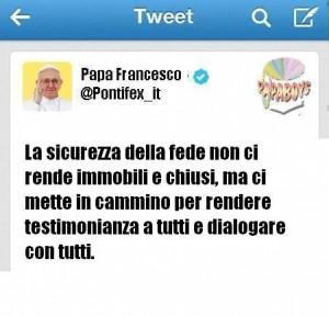 Il tweet della tarda mattinata di oggi dall'account del Papa