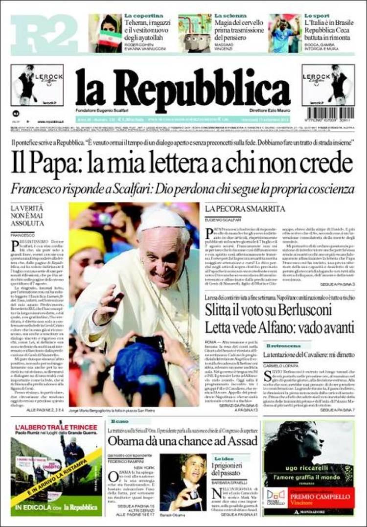 La prima pagina di Repubblica di oggi