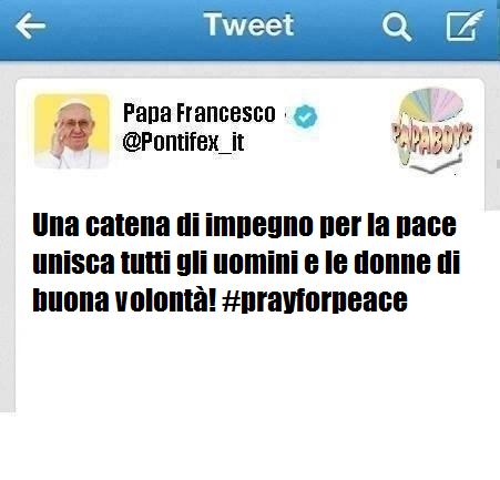Il terzo tweet di Francesco per il giorno di venerdì, a poche ore dall'inizio della Giornata per la pace