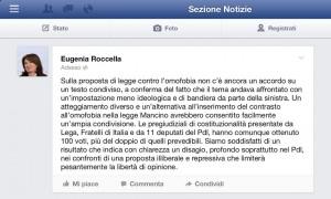 Post dell'Onorevole Roccella sulla discussione della legge omofobia