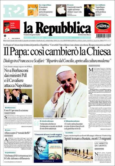 """La prima pagina di oggi del quotidiano """"Repubblica"""""""