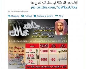 Foto 1: La campagna su Twitter. Il banner dice: «Finanzia col tuo denaro la Jihad!»