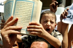 Manifestazione contro la blasfemia in un paese Arabo.