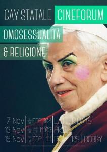 La locandina con la faccia di Benedetto XVI alterata