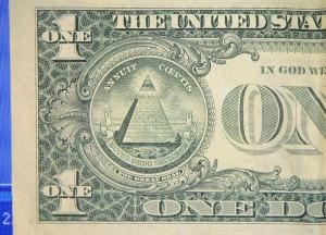 Presunta raffigurazione nel dollaro del Nuovo Ordine Mondiale.
