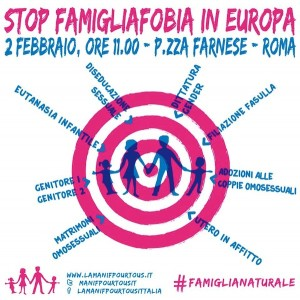 Insieme a Manif Pour Tous Italia per la Vita e la Famiglia.