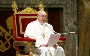 Papa Francesco, parla al Corpo Diplomatico.