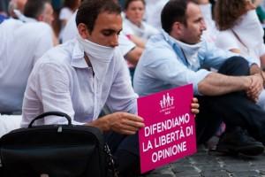Manifestazione a favore della libertà di opinione di Manif Pour Tous Italia.