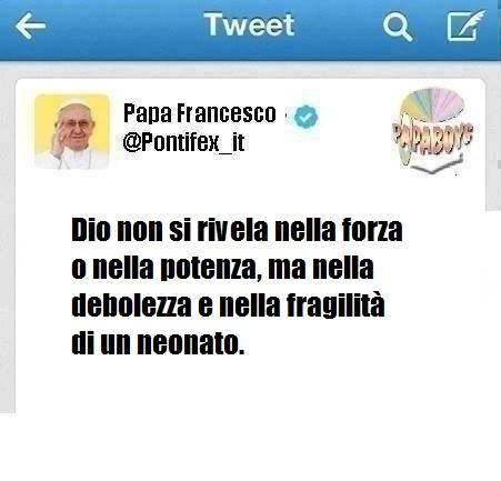 Il tweet di oggi, 2 gennaio 2014 di Papa Francesco