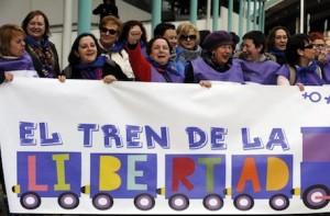 Le donne della manifestazione pro aborto a Madrid.