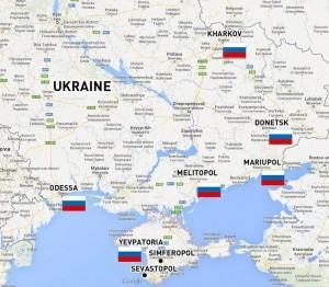L'Europa e gli USA hanno soffiato sul fuoco in Ucraina, e ora queste città hanno issato la bandiera russa.