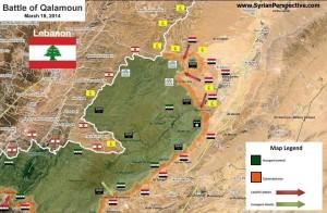 Cartina dei territori conquistati dall'Esercito nella battaglia di Yabroud.