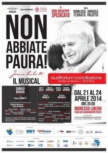 """Locandina per il musical """"Non abbiate paura""""."""