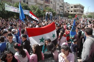 Manifestazione a favore del Governo siriano.