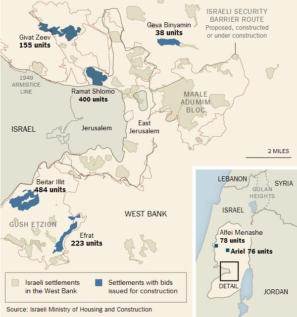 mappa nuovi insediamenti israeliani in Cisgiordania