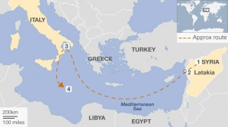 Cartina del viaggio della nave con le armi siriane.