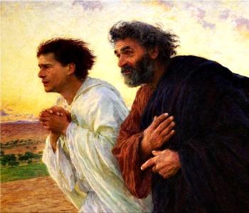L'altro discepolo corse più veloce di Pietro e giunse per primo al sepolcro. (Gv 20,2-8)