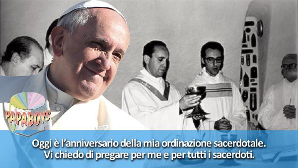 Oggi è l'anniversario della mia ordinazione sacerdotale. Vi chiedo di pregare per me e per tutti i sacerdoti.