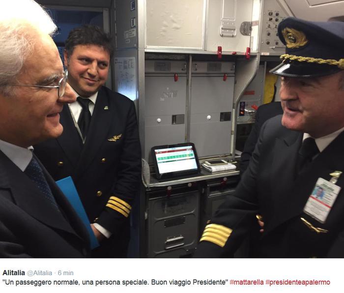"""Tweet Alitalia saluta Mattarella, """"Buon viaggio presidente"""""""