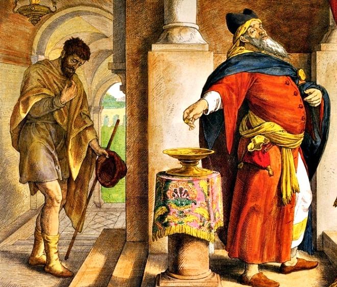"""Lc 18,9-14 Il pubblicano tornò a casa giustificato, a differenza del fariseo. In quel tempo, Gesù disse ancora questa parabola per alcuni che avevano l'intima presunzione di essere giusti e disprezzavano gli altri: «Due uomini salirono al tempio a pregare: uno era fariseo e l'altro pubblicano. Il fariseo, stando in piedi, pregava così tra sé: """"O Dio, ti ringrazio perché non sono come gli altri uomini, ladri, ingiusti, adùlteri, e neppure come questo pubblicano. Digiuno due volte alla settimana e pago le decime di tutto quello che possiedo"""". Il pubblicano invece, fermatosi a distanza, non osava nemmeno alzare gli occhi al cielo, ma si batteva il petto dicendo: """"O Dio, abbi pietà di me peccatore"""". Io vi dico: questi, a differenza dell'altro, tornò a casa sua giustificato, perché chiunque si esalta sarà umiliato, chi invece si umilia sarà esaltato». Il fariseo vive una religione sganciata da ogni verità. Si professa conoscitore profondo delle scritture ma non ne possiede lo spirito. Ha solo la lettera di esse, ma non l'anima. È sufficiente ricordarsi del Salmo per comprendere quanto falsa sia la sua preghiera."""