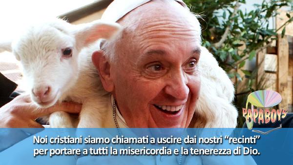 Tweet di Papa Francesco: uscire dai nostri recinti per portare a tutti la misericordia di Dio.