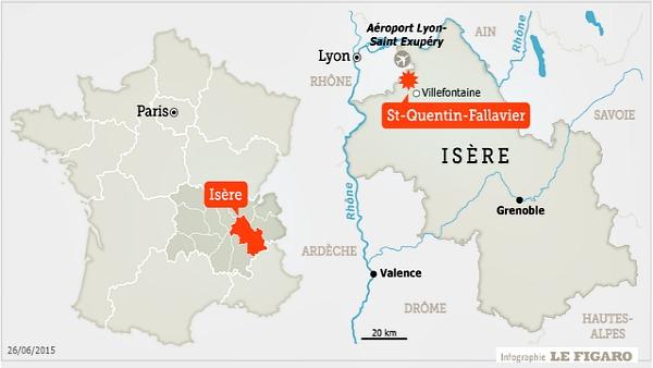 Francia, attentato con bandiera Is: il corpo di un uomo, decapitato, è stato trovato nei pressi di un impianto di produzione di gas, dove un presunto terrorista è penetrato stamani, poco prima delle dieci