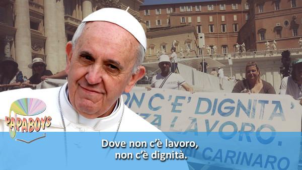 Tweet di Papa Francesco: Dove non c'è lavoro, non c'è dignità.