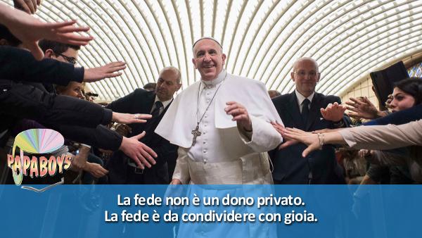 Tweet di Papa Francesco: La fede non è un dono privato. La fede è da condividere con gioia.