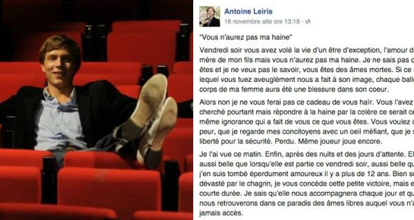Lettera ai terroristi/Antoine piange la moglie Hélène: la vostra sconfitta è nostro figlio