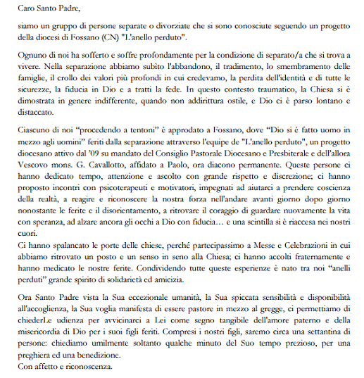 La lettera inviata a Papa Francesco