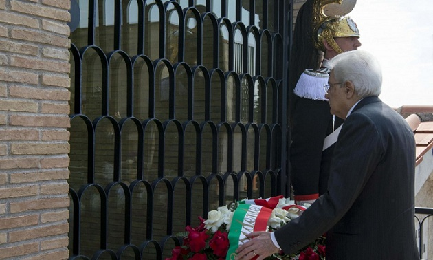 L'omaggio del Presidente Mattarella alla tomba di Aldo Moro