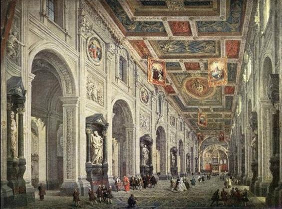interno della Basilica di San Giovanni in Laterano, dove avvenne il Concilio (dipinto di Giovanni Paolo Pannini)