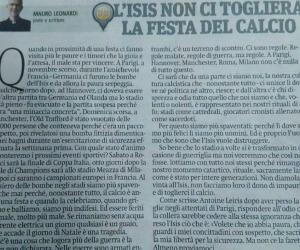 L'Isis non ci toglierà la festa del calcio