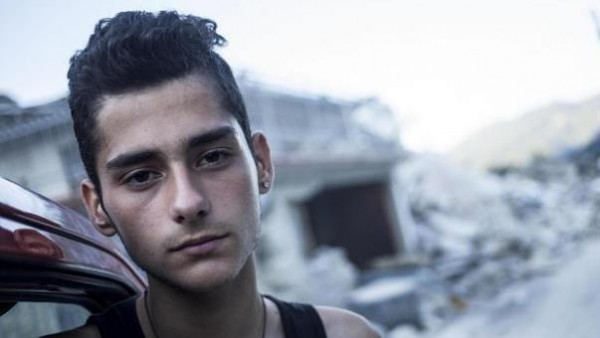 Italian boy Francesco Morelli, who saved 7 persons after the earthquake, poses in Pescara del Tronto 28 agosto 2016. Hundreds of people have been left homeless by the 24 August devastating earthquake in central Italy. ANSA/MASSIMO PERCOSSI
