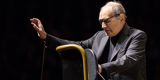 Film music composer Ennio Morricone conducts pieces from the '60 Years Of Music World Tour' at Lanxess Arena in Cologne, Germany, 18 February 2016. Photo by: Maja Hitij/picture-alliance/dpa/AP Images