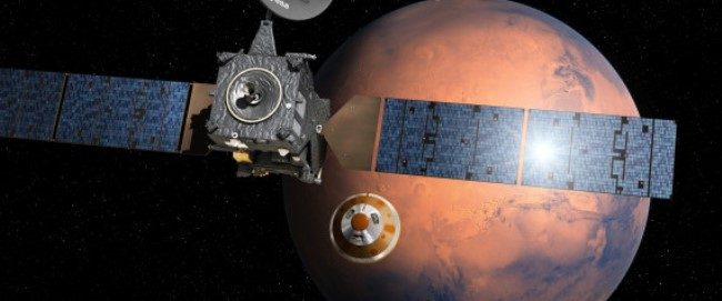 Artist's impression provided by the European Space Agency, ESA, depicting the separation of the ExoMars 2016 entry, descent and landing demonstrator module, named Schiaparelli, center, from the Trace Gas Orbiter, TGO,lrft, and heading for Mars. The separation is scheduled to occur on Sunday Oct. 16, 2016, about seven months after launch. Schiaparelli is set to enter the martian atmosphere on Oct. 19, 2016 while TGO will enter orbit around Mars. The probe will take images of Mars and conduct scientific measurements on the surface, but its main purpose is to test technology for a future European Mars rover. Schiaparelli's mother ship will remain in orbit to analyze gases in the Martian atmosphere to help answer whether there is or was life on Mars. (ESA/D. Ducros via AP)