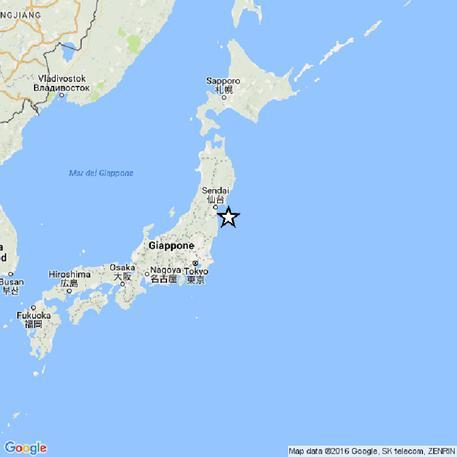 Nella cartina dell'Ingv l'epicentro del sisma che si è verificato al largo della costa orientale della prefettura giapponese di Fukushima, 21 novembre 2016. ANSA/INGV +++ ANSA PROVIDES ACCESS TO THIS HANDOUT PHOTO TO BE USED SOLELY TO ILLUSTRATE NEWS REPORTING OR COMMENTARY ON THE FACTS OR EVENTS DEPICTED IN THIS IMAGE; NO ARCHIVING; NO LICENSING +++