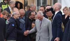 Britain's Prince Charles shakes hand with Mayor Sergio Pirozzi during his vist at the 2016 earthquake-hit town of Amatrice, central Italy, 02 April 2017. Britain's Prince Charles and his wife Camilla arrived in Florence from Romania on 31 March to start a five-day Italian leg of their European tour. ANSA/STRINGER