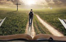 Man walking on a Bible towards a cross