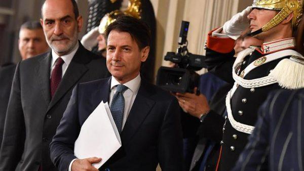 Prime Minister designate Giuseppe Conte addresses the media after a meeting with Italian President Sergio Mattarella at the Quirinal Palace, Rome, Italy, 23 May 2018. ANSA/ETTORE FERRARI