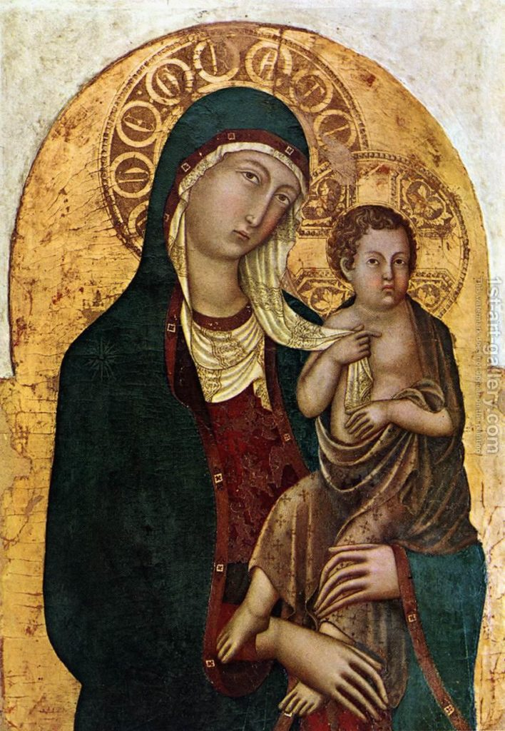 Virgin with Child c. 1336 by Niccolo Di Segna - Reproduction Oil Painting