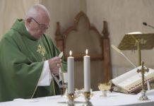 Papa Francesco, nell' omelia della messa a Casa Santa Marta