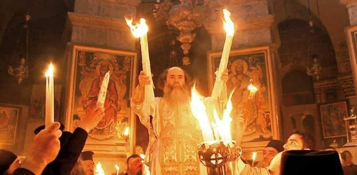 fuoco sacro a Gerusalemme