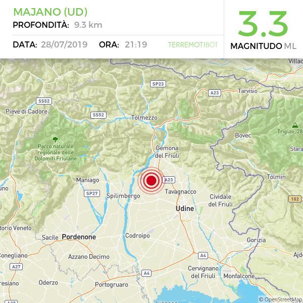 terremoto friuli. 28 luglio 2019